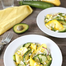 Zucchini Ribbon Salad with Sweet Corn & Avocado