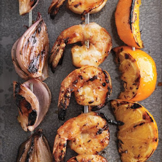 Shallots, Shrimp, and Oranges with Apricot Glaze
