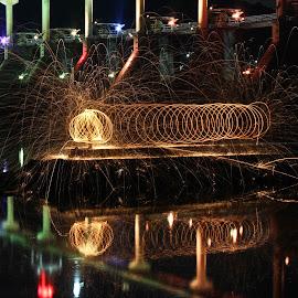The Caterpillar by Brenda Hooper - Abstract Fire & Fireworks ( lights, dam, caterpillar, rocks, fire,  )