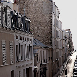 Meeting by Brooke Green - City,  Street & Park  Street Scenes ( paris, natural light, urban, urban landscapes, street scene, cobblestone, street photography )