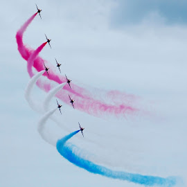 Red Arrows 2014 by Lynn Taylor - Transportation Airplanes