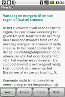 Screenshot of Gratis Weer NL vooruitzichten