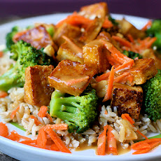 Soy-Mirin Tofu Over Rice with Broccoli and Peanut Sauce