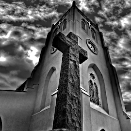 St Katherine's church by Simon Eastop - Buildings & Architecture Places of Worship ( clouds, tower, church, clock, mono, cross )
