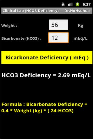 Clinical Lab HCO3 Deficiency