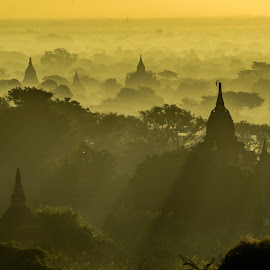 Misty morning in Bagan by Khun Myo Than Htun - Landscapes Travel ( temples, shadow, sunrise, shade, misty )