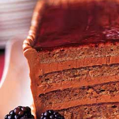 Walnut-Blackberry Torte with Mocha Buttercream