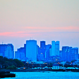 Boston Waterfront by Alexis Picheny - City,  Street & Park  Skylines ( water, skyline, harbor, boston, sunset, landscape, city )