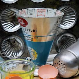 Kitchenalia by Heather Aplin - Food & Drink Cooking & Baking ( flour, eggs, vintage, tray, retro, kitchenalia, spoon, baking, kitchen, sugar,  )