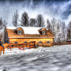 Peace by Christine Jobin - Buildings & Architecture Other Exteriors ( life, riding, horse, snow, cloud, house, campagne )