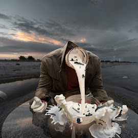 Storyteller by Mikhail Batrak - Digital Art Things ( canon, shell, splash, fine art, armor, table, seascape, photo, digital, headless, manipulation, lightning, color, milk, glass, suit, collage, tank, jet )