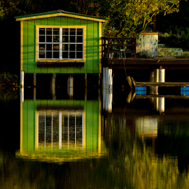 green boat house by David Ubach - Buildings & Architecture Other Exteriors ( water reflection, green, lake, boat house )