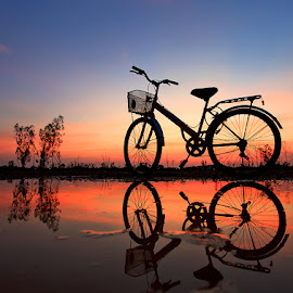 Bike by Pkproject Khatawut J - Transportation Bicycles ( reflection, bike, sunset, silhouette, thailand )