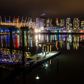 View from False Creek by Cory Bohnenkamp - City,  Street & Park  Vistas ( false creek, harbour, rogers arena, night, bc place stadium, vancouver, city )