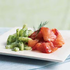 Dill and Beet-Cured Salmon with Cucumber Salad