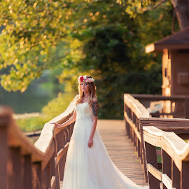 Serene by Shelby Waltz - Wedding Bride ( bridal portrait, beauty in nature, leaves, florals, bride, dock )