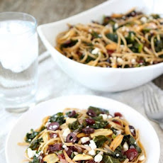 Pasta with Kale, Kalamata Olives, Dried Cranberries, Toasted Garlic, & Feta