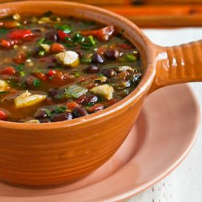 Black Bean Stew with Roasted Red Pepper, Chicken, and Cilantro