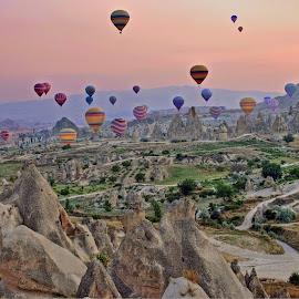 Cappadocis balloons by Nikola Bašić  - Transportation Other ( cappadocia turkey balloons landscape nikon color,  )