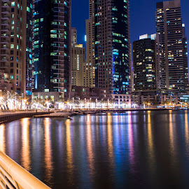 Dubai Marina - Griller by Rimaz Rauf - Buildings & Architecture Architectural Detail ( night photography, dubai, night, nightscape,  )