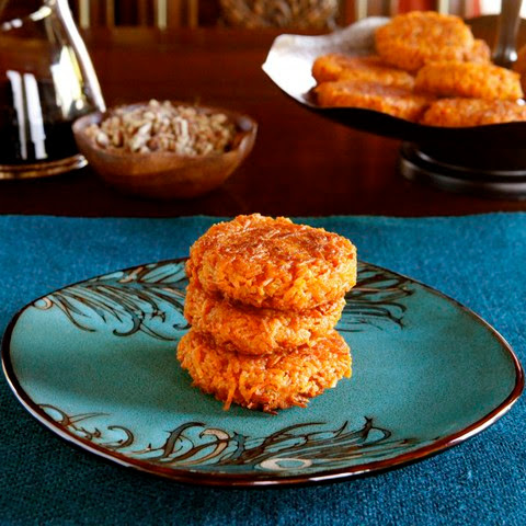 Sweet Potato Latkes with Brown Sugar Syrup and Cayenne Candied Pecans