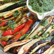 Roasted Vegetables Plate With Cilantro Parsley Dressing