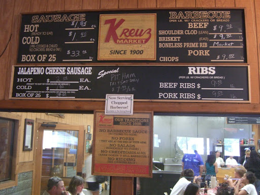 Menu at Kreuz Market