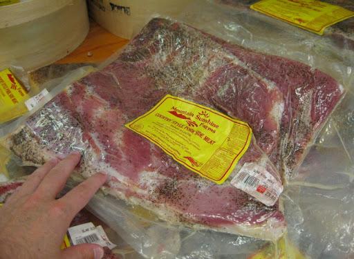 Cured Pork Side at the WNC Farmer's Market near Asheville, North Carolina