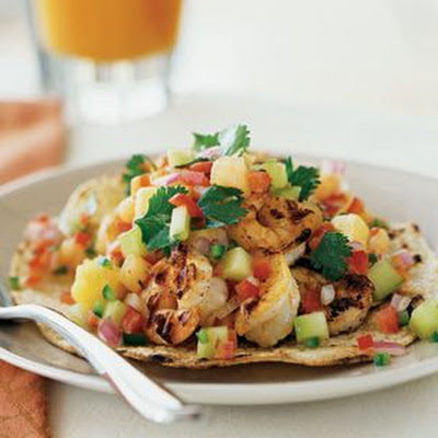 Shrimp Tacos with Melon-Pineapple Salsa