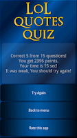 Screenshot of LoL Quotes Quiz