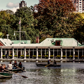 Loeb Boathouse by Gina Gomez - Buildings & Architecture Other Exteriors ( central park rowboat lake, park, nyc central park, new york central park, central park boathouse, the loeb boathouse, rowboats, central park rowboats )