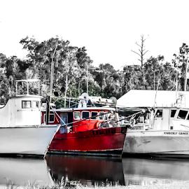 Shrimp boats on Bon Secour by Diane Davis - Transportation Boats ( selective color, pwc )