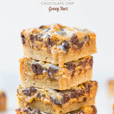 Caramel Peanut Butter Chocolate Chip Gooey Bars