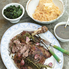 Incredible Roasted Shoulder Of Lamb With Smashed Veg & Greens