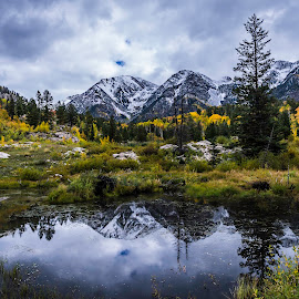 My Happy Place by Nathan Jesse - Landscapes Mountains & Hills ( reflection, mountains, fall, lake, snow capped mountains, aspens )