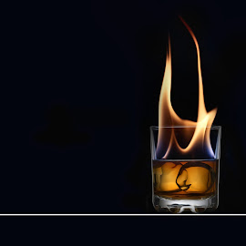 whiskey fire by Gerry Morgan - Food & Drink Alcohol & Drinks ( water, jameson, liquid, whiskey, ice, black, fire,  )