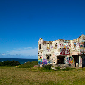 Haunted House by Malcolm Duke - Buildings & Architecture Decaying & Abandoned ( canon, sky, blue, ocean, haunted, house, falling apart )