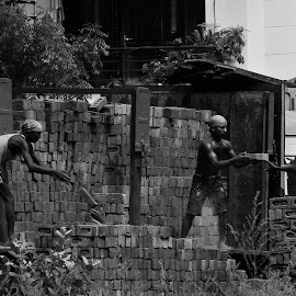 Work In Progress by Manju Ray - People Street & Candids ( bricks and mortar, people, construction, street-candid )