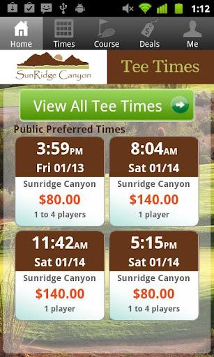 SunRidge Canyon Tee Times