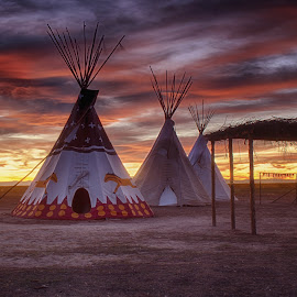 Tipis At Sunset by Hans Watson - Landscapes Travel ( teepee, sunset, indian, plains, tipi, native american )