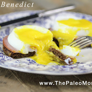 Eggs Benedict (including nut-free Paleo English muffins!! and dairy-free Hollandaise Sauce!!!)
