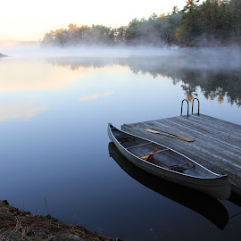 The Sunrise Canoe by Shari Fulmer - Novices Only Landscapes ( water scene, cottage, canoe )