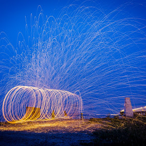 The Fiery Tunnel by Adrian Choo - Abstract Light Painting ( light painting, blue hour, penang 2nd bridge, sparks, light, tunnel )