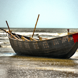 BOAT AT THE SEA SHORE by Ravi Kashyap - Transportation Boats