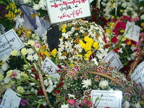 >The condolence flowers at Ludu Daw Ah Mar funeral – April 10, 2008