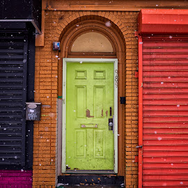 Color Door in Snow by Alan Roseman - Buildings & Architecture Other Exteriors ( winter, cold, rhode island, street, snow, snow day, providence,  )
