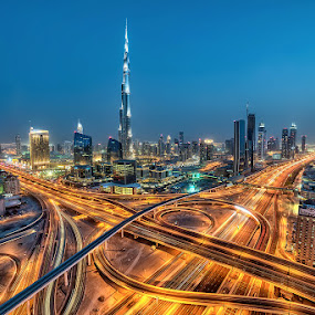 Magnificent Dubai by Andrew Madali - Buildings & Architecture Bridges & Suspended Structures ( dubai, blue hour, night, burj khalifa, night shot )