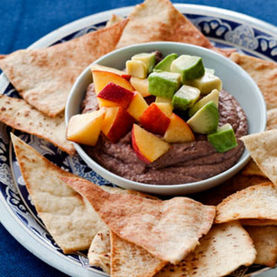Spiced Black Bean Hummus with Marinated Peaches