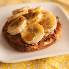 English Muffin with Bruléed Banana and Peanut Butter