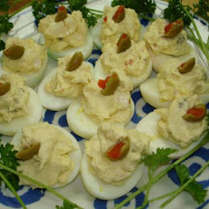 Cream Cheese  and Olive Deviled Eggs